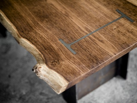 Solid English Oak coffee table with two structural steel beams providing the support