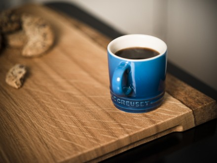Solid English Oak serving board complete with Le Creuset Espresso mug.