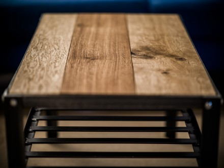 steel and oak coffee table