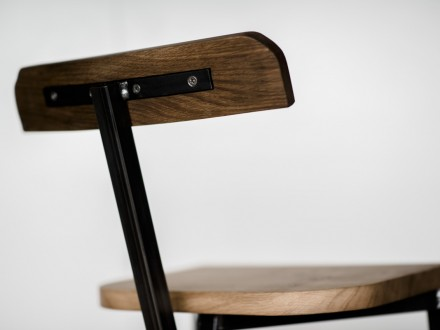 Kitchen bar stool hand-made from solid English Oak and Steel