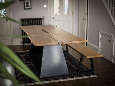 English Oak and steel dining table